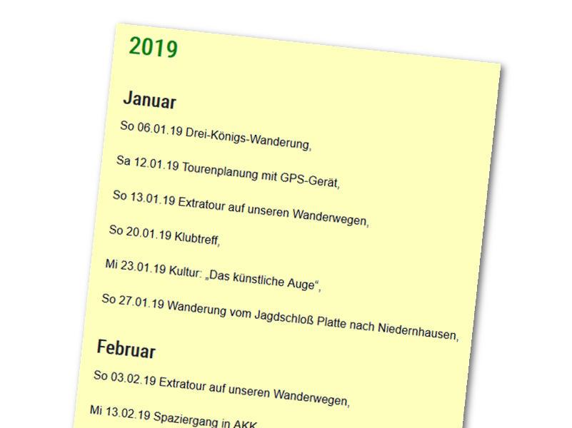 Wanderplan 2019